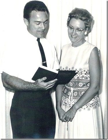Reviewing the first copy of my book Bonesetting, Chiropractic, and Cultism, with my wife, Martha, in 1963.