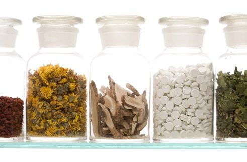 Various herbal remedies and supplements.