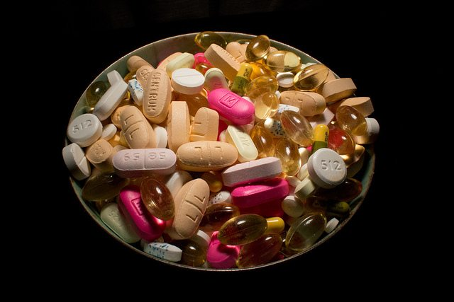 Bowl of drugs and supplements